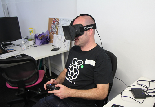 Andrew trying to avoid motion sickness with Oculus Rift.