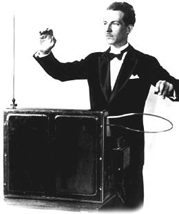 Leon Theremin plays his instrument.